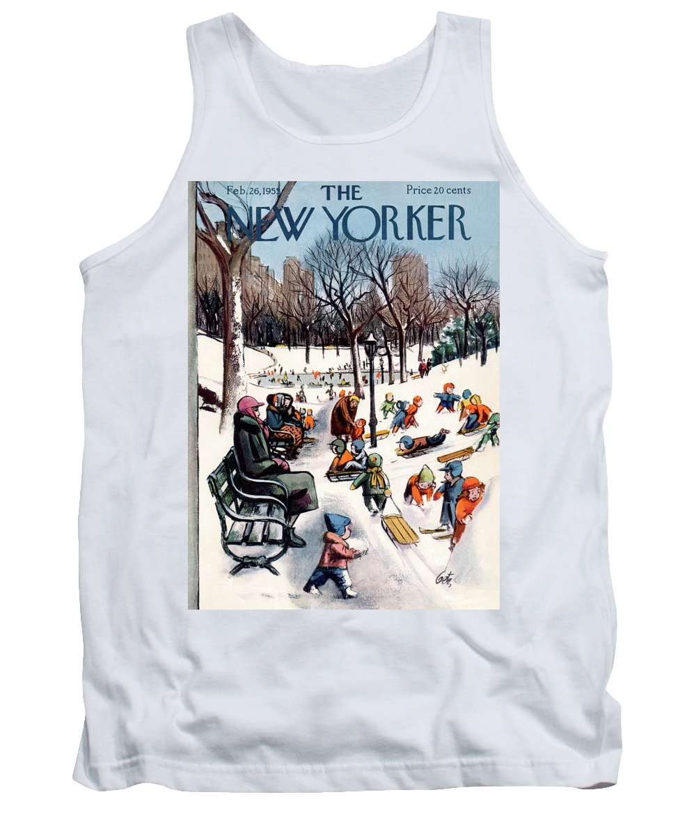 New York City Tank Top featuring the painting New Yorker February 26th, 1955 by Arthur Getz