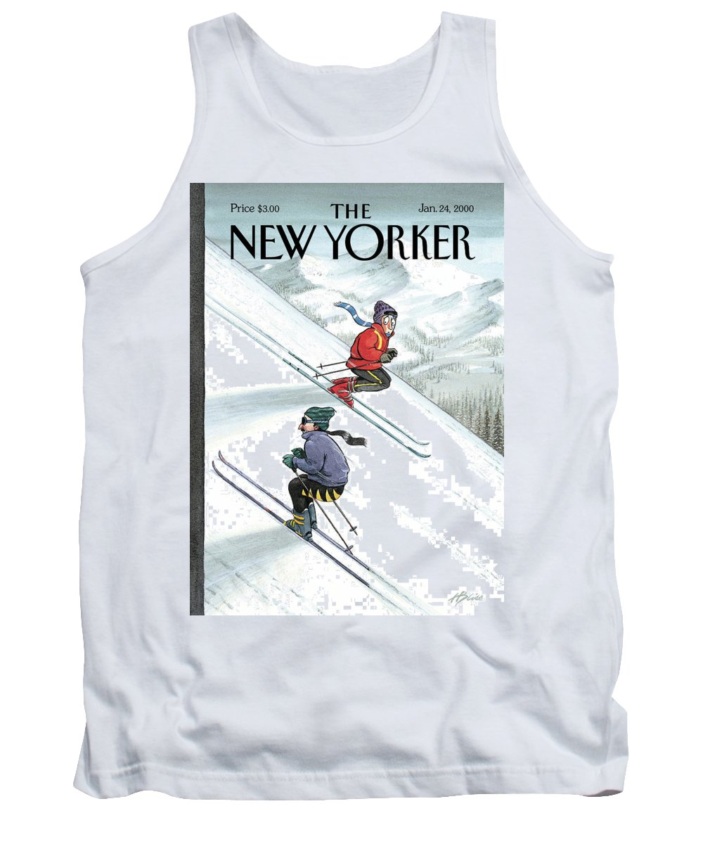 Up The Down Slope Ski Skiing Winter Sports Mountain Slopes Mountains Recreation Activities Harry Bliss Hbl Hbl Artkey 51153 Tank Top featuring the painting New Yorker January 24th, 2000 by Harry Bliss