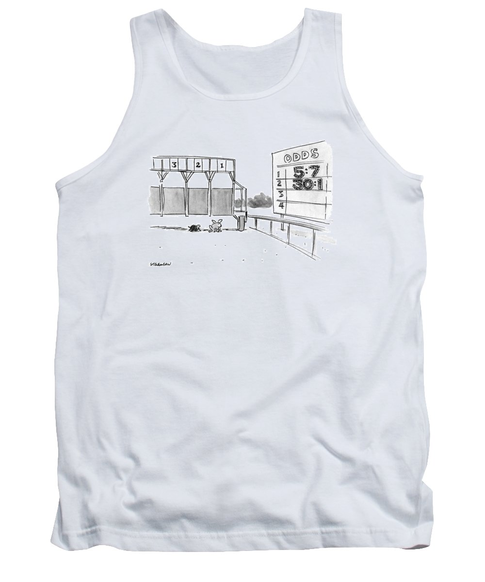 (tortoise And Hare At Start Of Race Being Held At Official Racetrack Tank Top featuring the drawing New Yorker January 29th, 1990 by James Stevenson