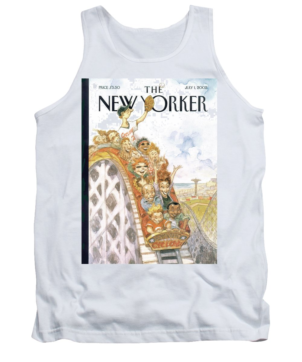 Coney Island Cyclone Brooklyn New York City Minor League Baseball Player Roller Coaster Entertainment Leisure 'fair Ball' Peter De Seve Pde Peter De Seve Pde De Seve Peter De Seve Pde Pde Artkey 51967 Tank Top featuring the painting New Yorker July 1st, 2002 by Peter de Seve