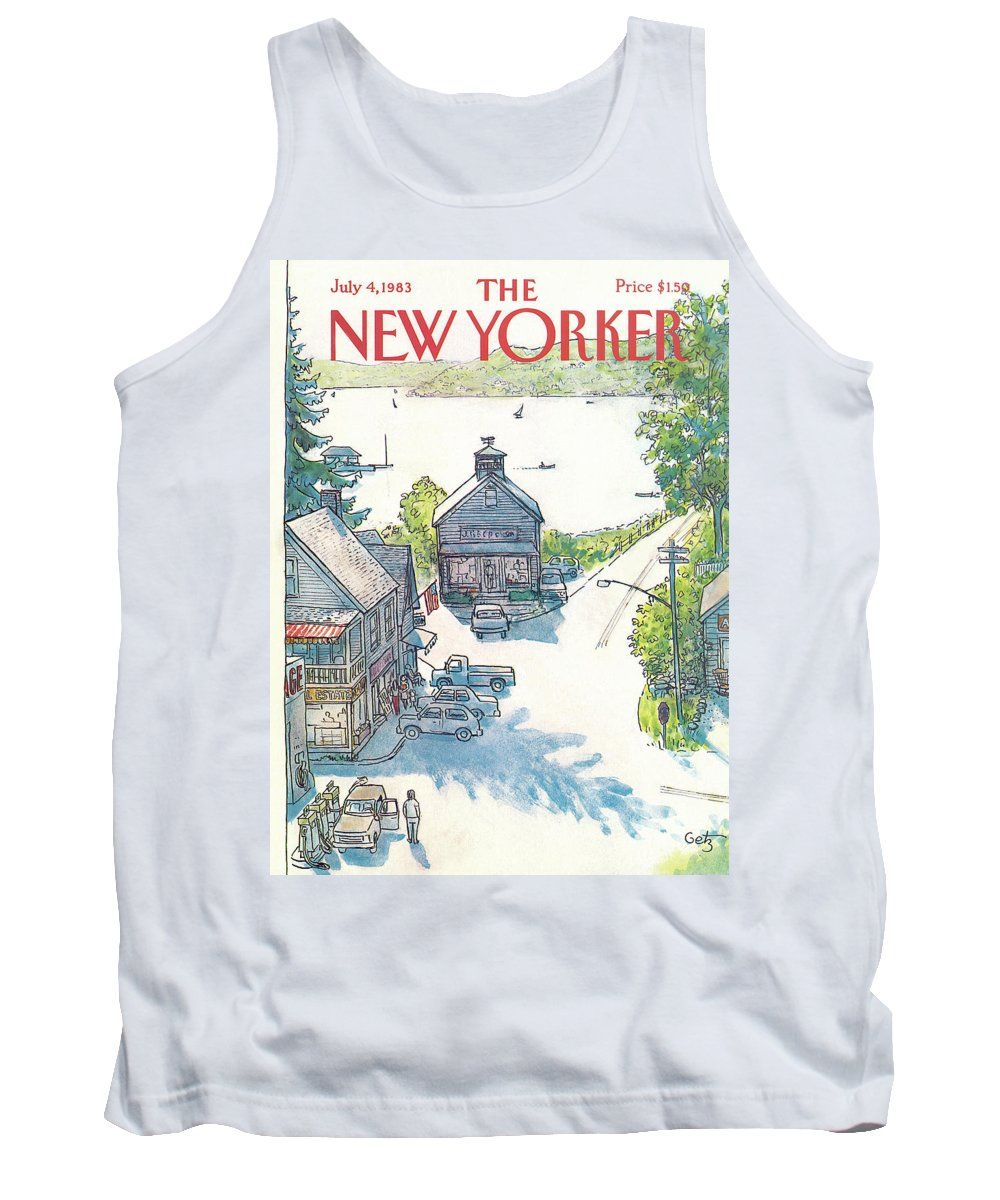 Rural Tank Top featuring the painting New Yorker July 4th, 1983 by Arthur Getz