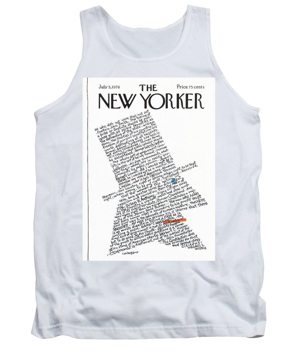 Calligraphy Tank Top featuring the painting New Yorker July 5th, 1976 by Lou Myers