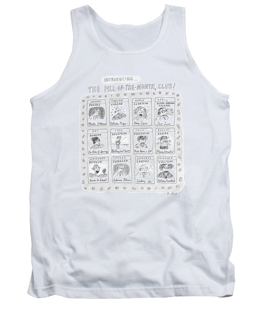 Drug Tank Top featuring the drawing New Yorker June 8th, 1998 by Roz Chast