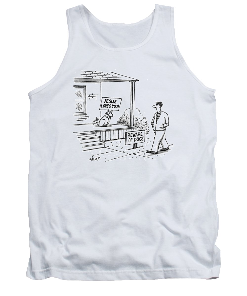 'jesus Loves You!' (sign Held Up By Joyous-looking Dog) Tank Top featuring the drawing New Yorker September 27th, 1993 by Tom Cheney