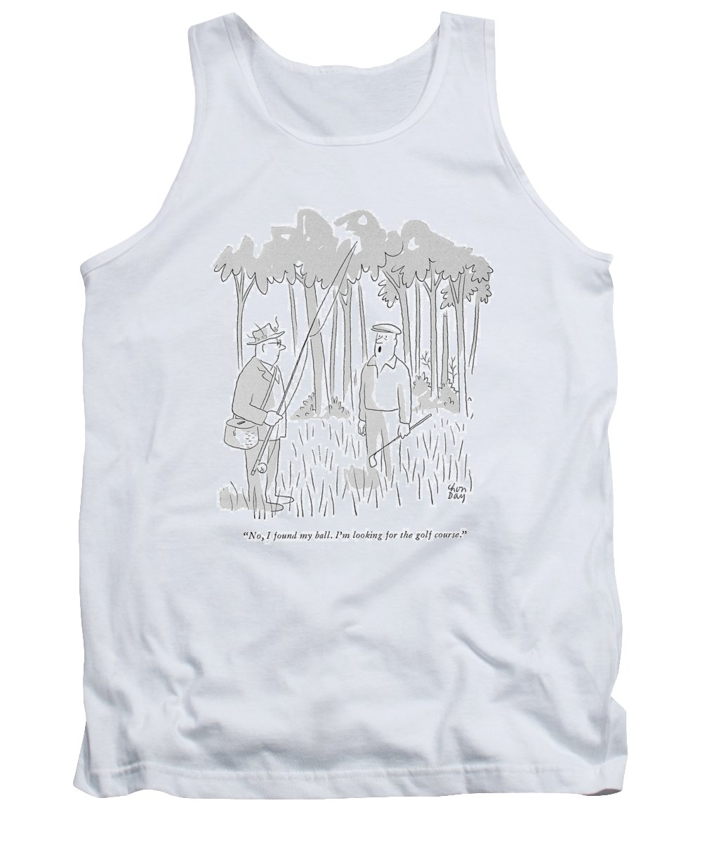 (lost Golfer To A Passing Fisherman.) Leisure Tank Top featuring the drawing No, I Found My Ball. I'm Looking For The Golf by Chon Day