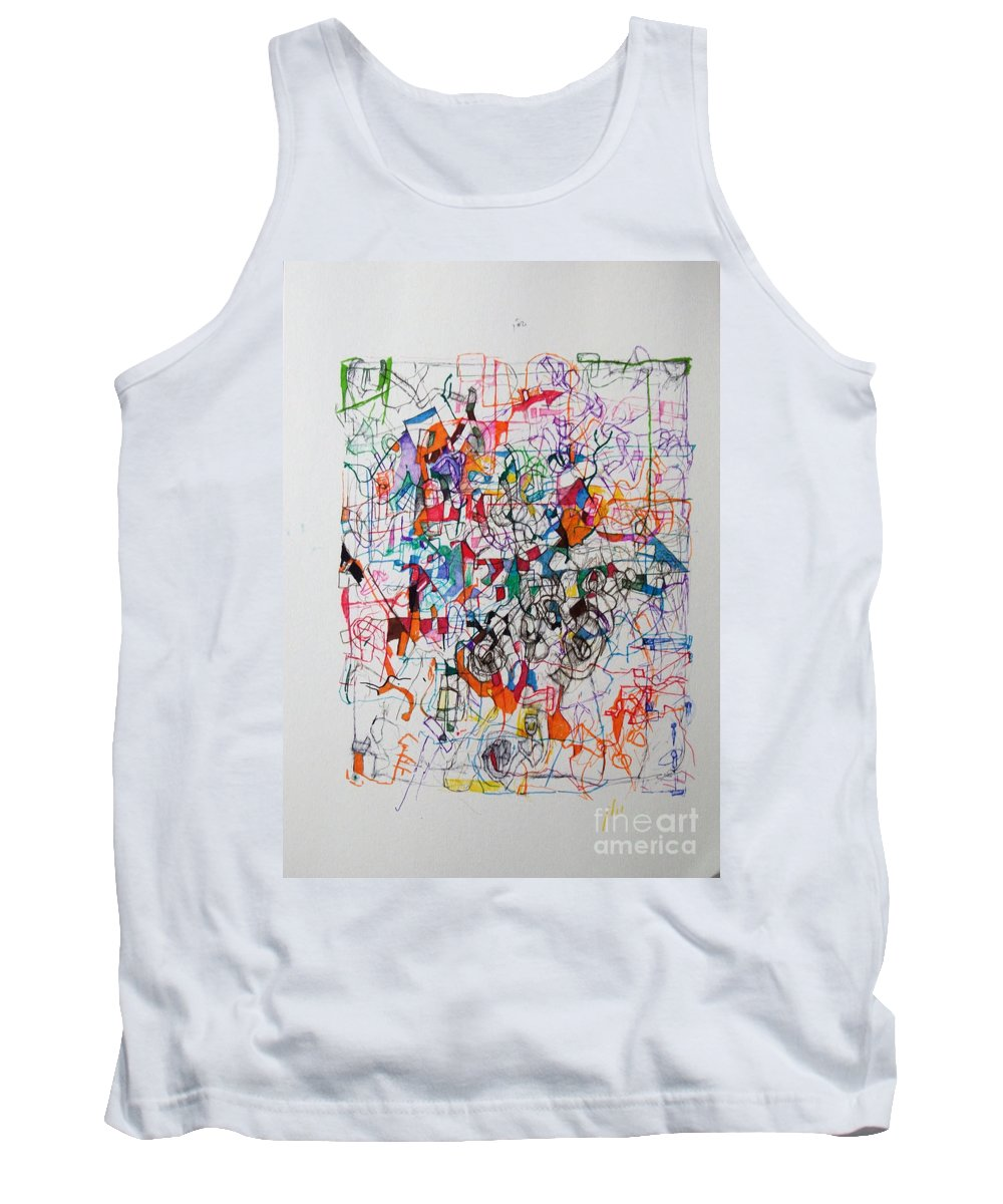 Torah Tank Top featuring the drawing Nothing Left But Prayer by David Baruch Wolk