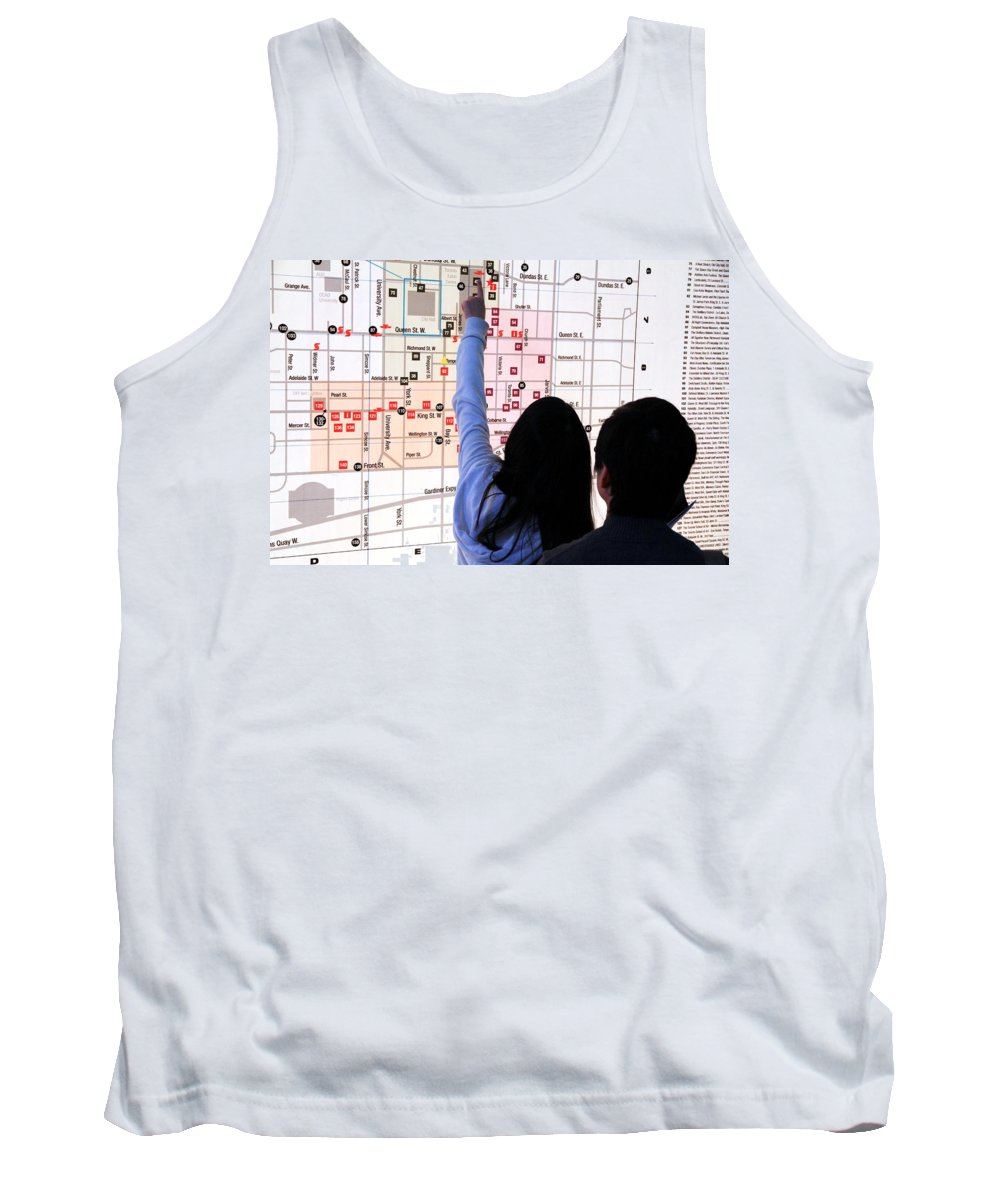 Illuminated Tank Top featuring the photograph Nuit Blanche Map by Valentino Visentini