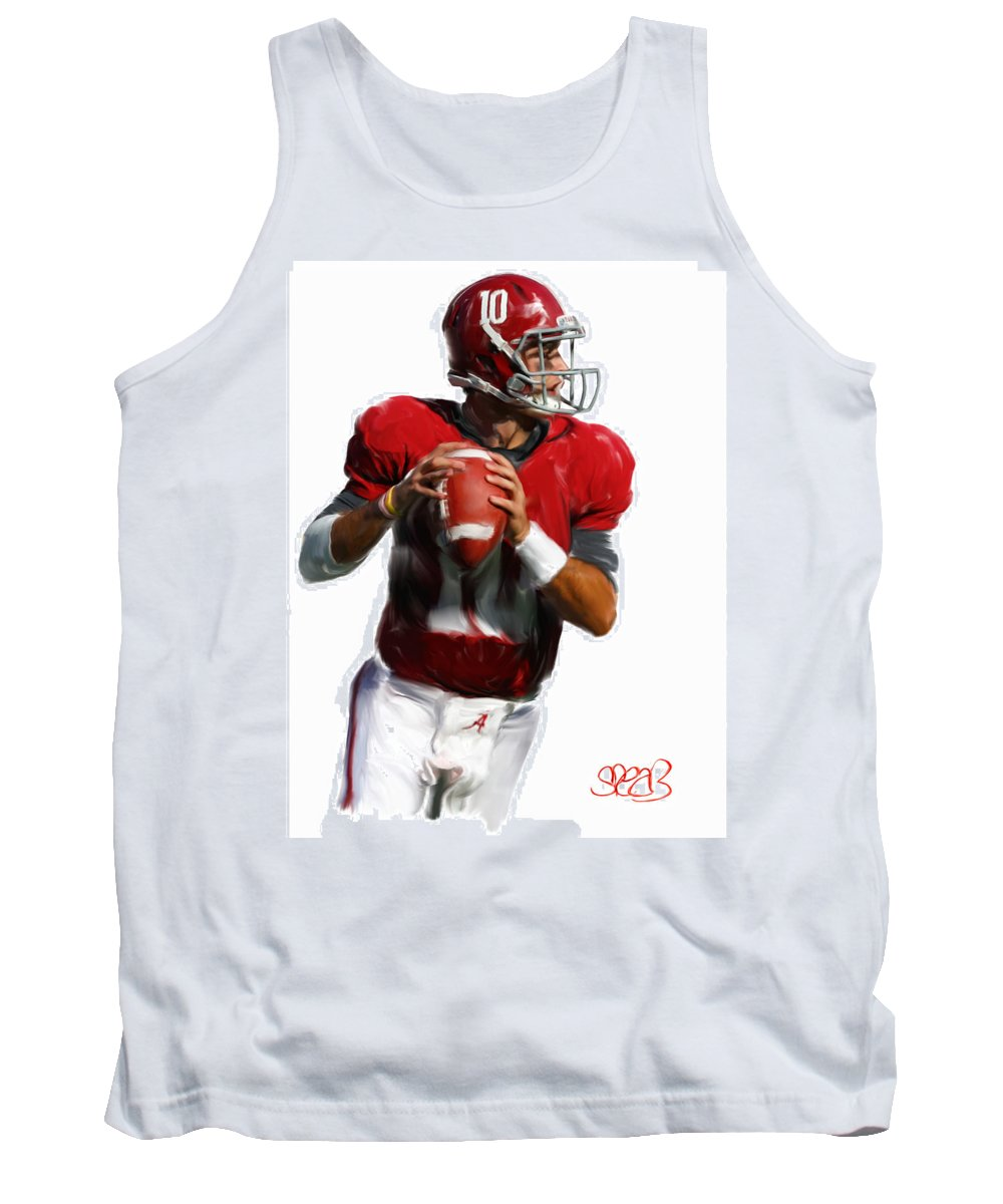 Alabama Football Tank Top featuring the painting Number 10 by Mark Spears