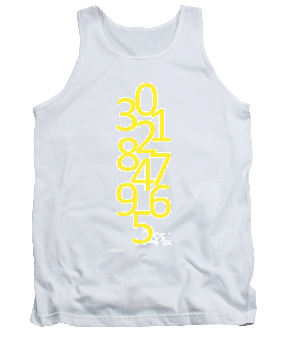 Numbers Tank Top featuring the digital art Numbers In Yellow by Jackie Farnsworth