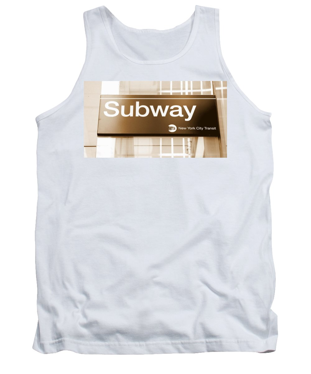 Billboard Tank Top featuring the photograph Nyc Subway Sign by Valentino Visentini
