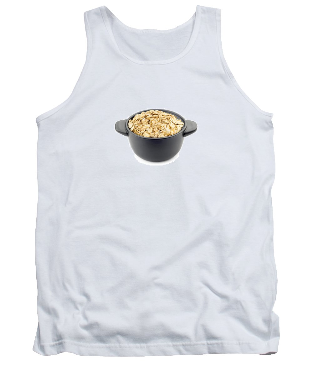 Above Tank Top featuring the photograph Oat Flakes In A Black Cup by Alain De Maximy