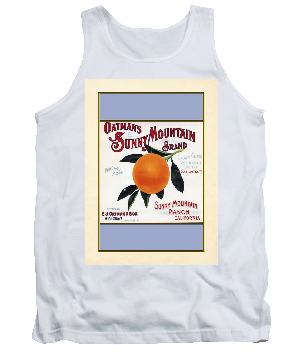 Antique Vintage Historical California Labels Crates Fruit Oranges Tank Top featuring the painting Oatmans Sunny Mountain Brand Oranges Vertical by Elaine Plesser
