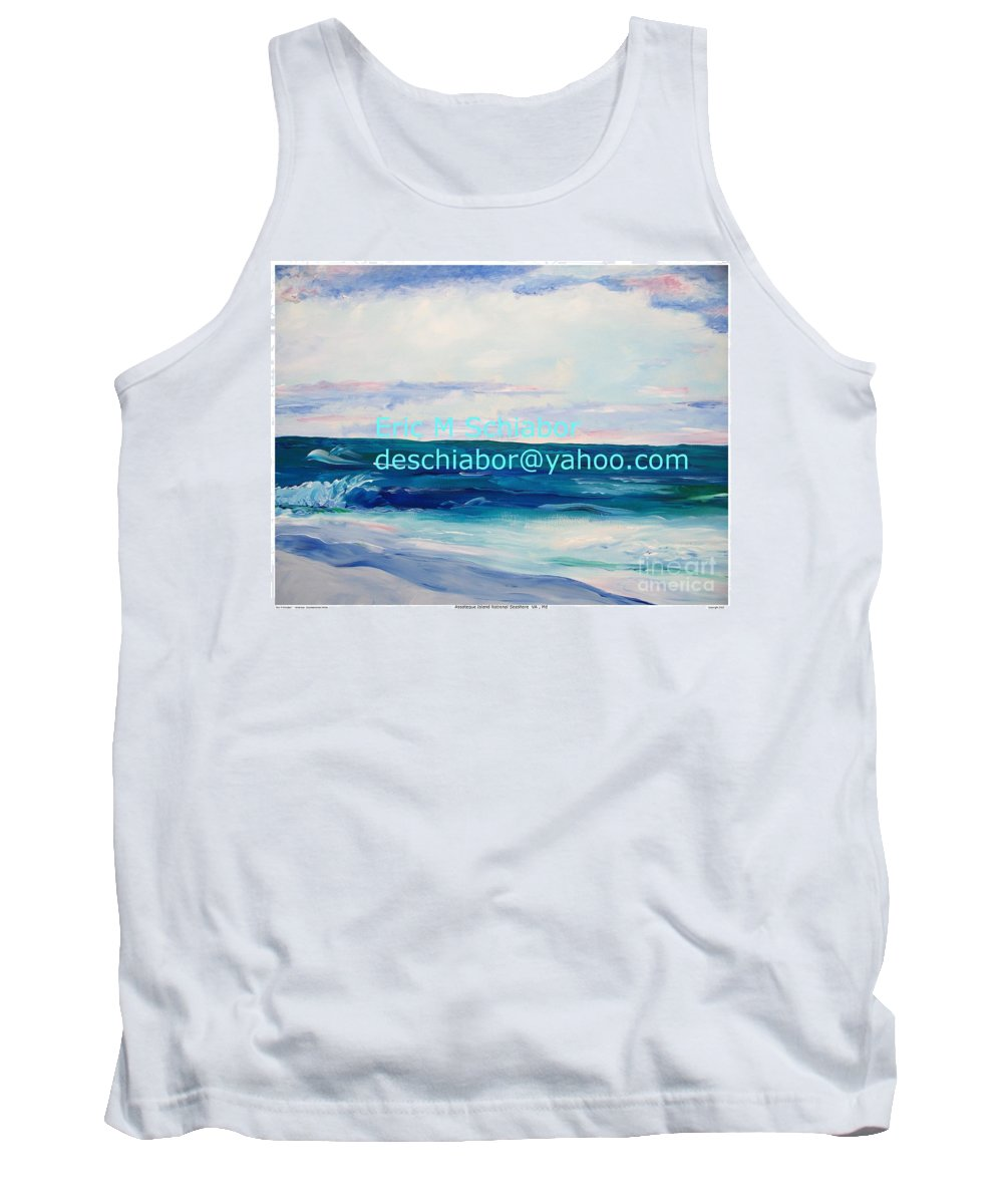 Floral Tank Top featuring the painting Ocean Assateague Virginia by Eric Schiabor