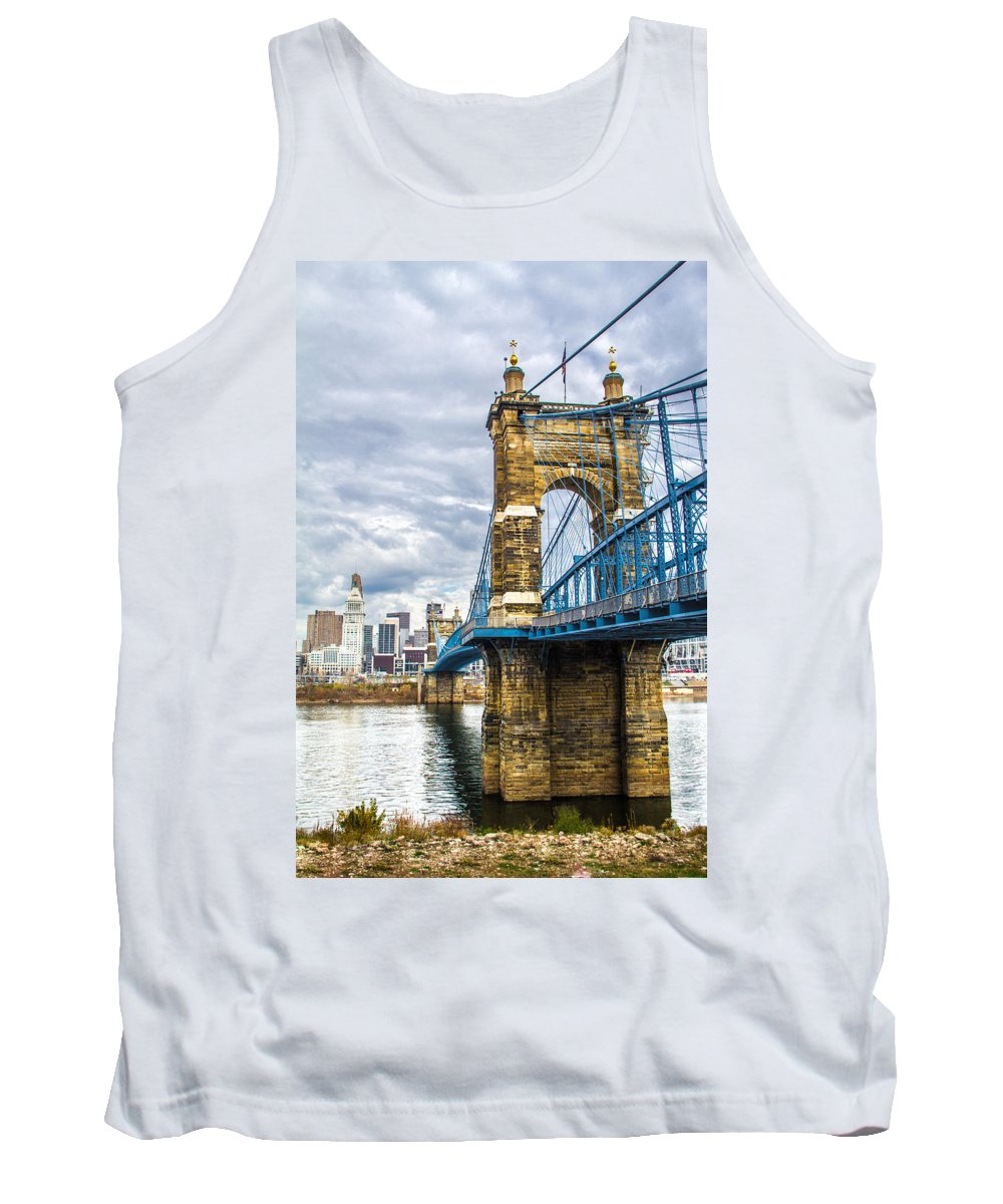 Water Photograph Tank Top featuring the photograph Ohio River Bridge by Michael J Samuels