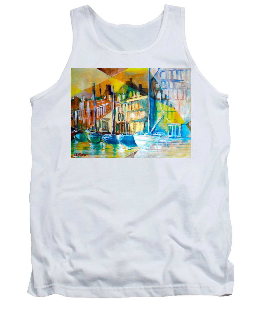 Old World Street Tank Top featuring the painting Old Copenhagen Thru Stained Glass by Seth Weaver
