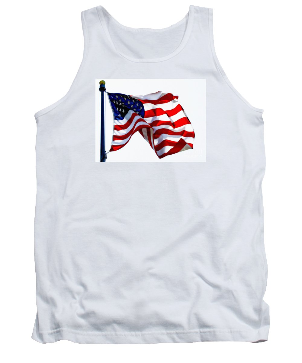 Flag Tank Top featuring the photograph America The Beautiful Usa by Carol F Austin