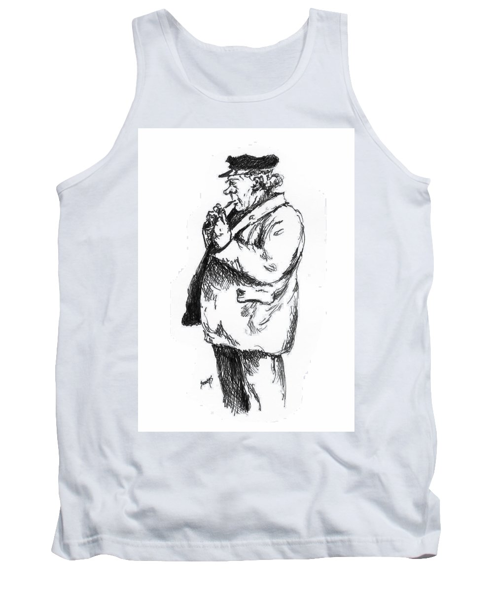 Sailor Tank Top featuring the drawing Old Sailor by Sam Sidders