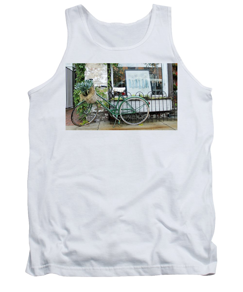 Bike Tank Top featuring the photograph Old Town Bike Stop by Danielle Allard