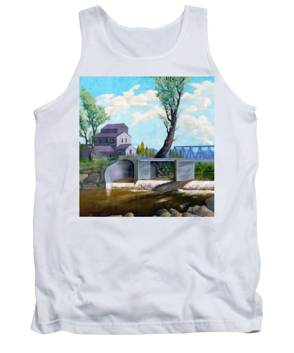 Old Tank Top featuring the painting Old Water Mill by Sergey Bezhinets