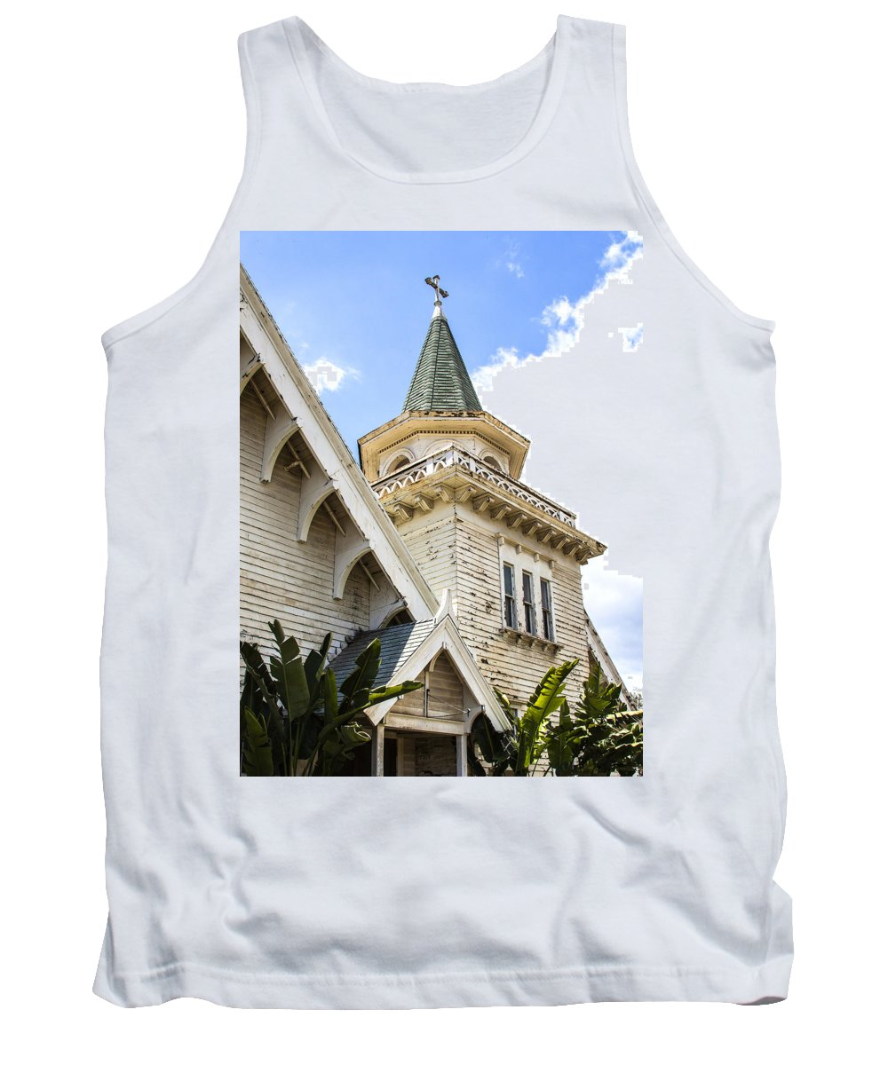 Victorian Chapel Tank Top featuring the photograph Old Wooden Victorian Chapel Church Steeple Fine Art Landscape Photography Print by Jerry Cowart