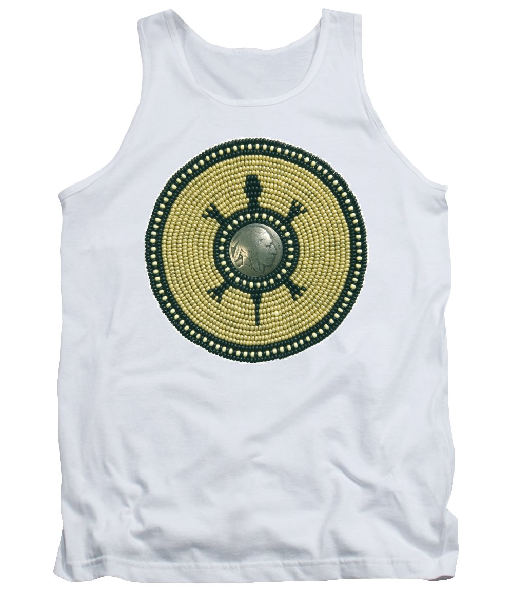 Beadwork Tank Top featuring the mixed media Olive Turtle 041106 by Douglas K Limon