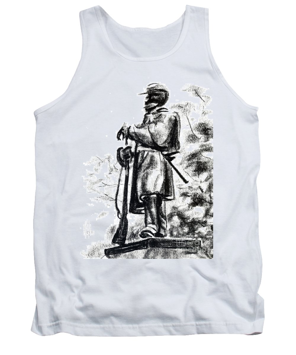 On Duty In Brigadoon No Ch101 Tank Top featuring the drawing On Duty In Brigadoon No Ch101 by Kip DeVore