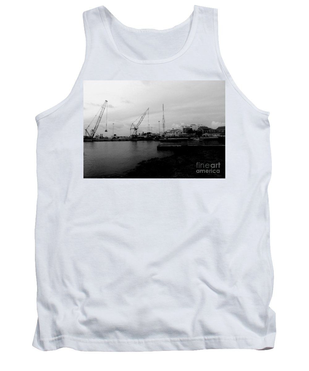 Black And White Tank Top featuring the photograph On The Waterfront by Amar Sheow