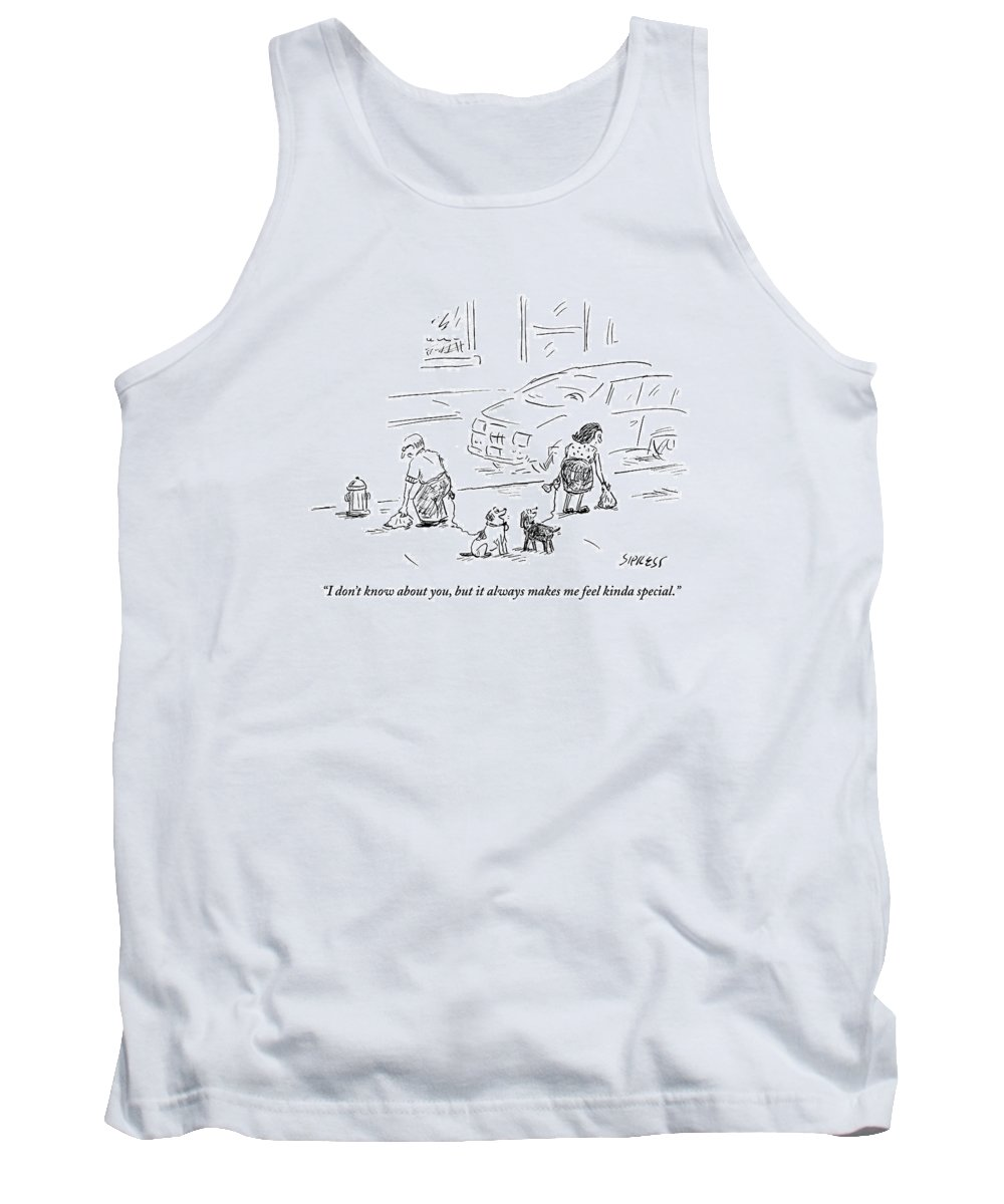 Dogs Tank Top featuring the drawing One Dog To Another As Owners Use Plastic Bags by David Sipress