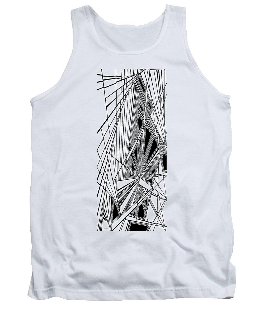 Dynamic Black And White Tank Top featuring the painting Ongoing Skirmish by Douglas Christian Larsen