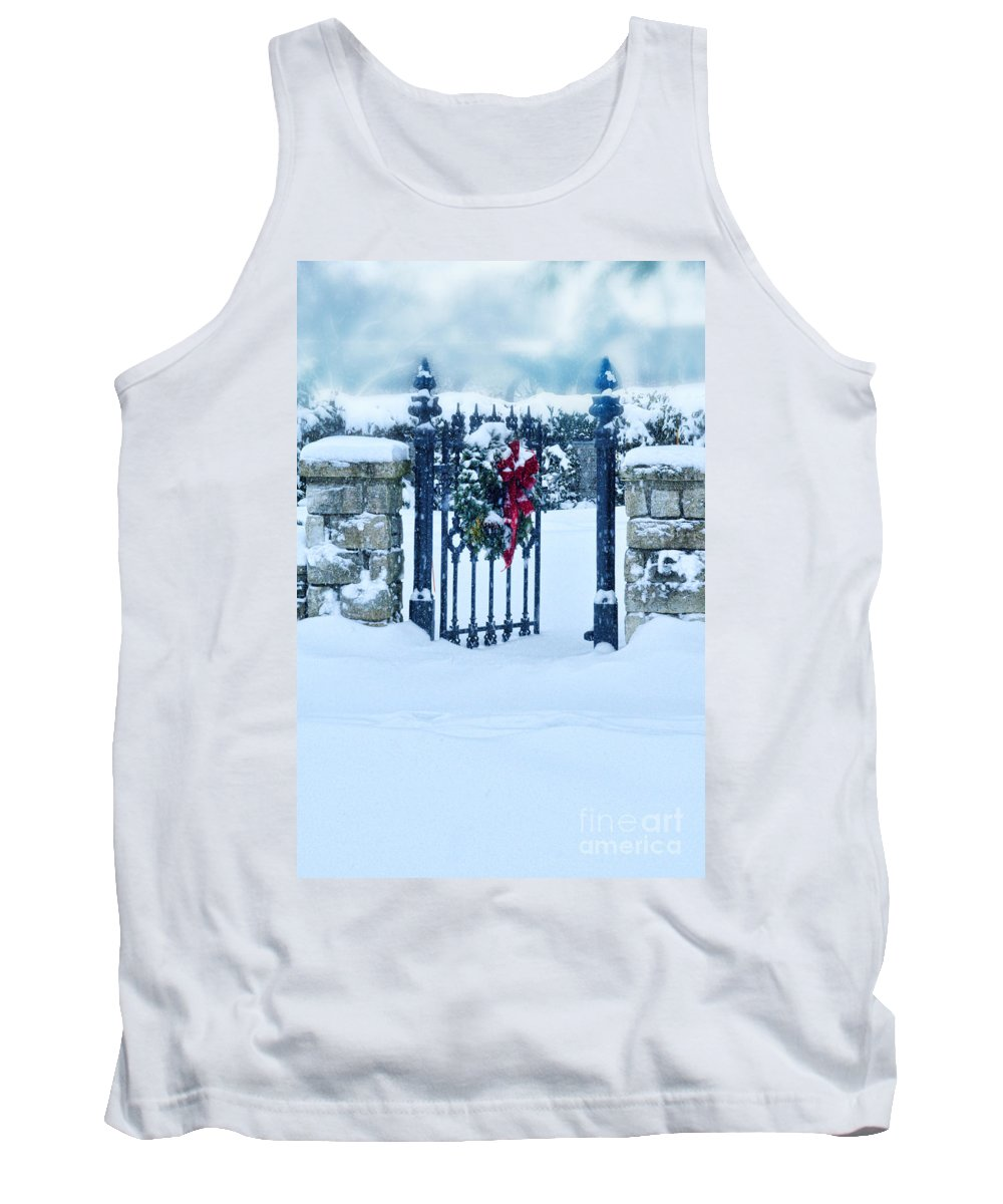 Welcome Tank Top featuring the photograph Open Gate In Snow With Wreath by Jill Battaglia