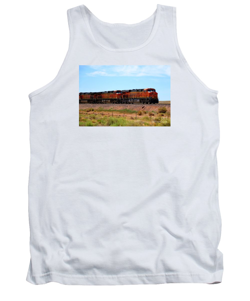 Bnsf Tank Top featuring the photograph Orange Bnsf Engines by Christiane Schulze Art And Photography