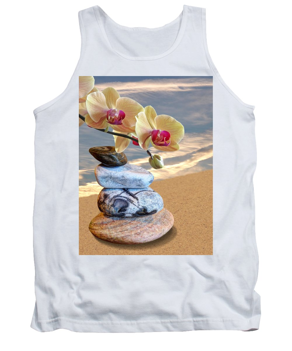 Pebbles Tank Top featuring the photograph Orchids And Pebbles On Sand by Gill Billington