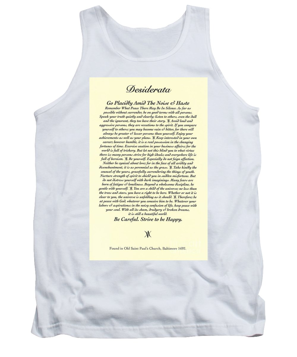 Desiderata Tank Top featuring the mixed media Original Desiderata Poem by Desiderata Gallery