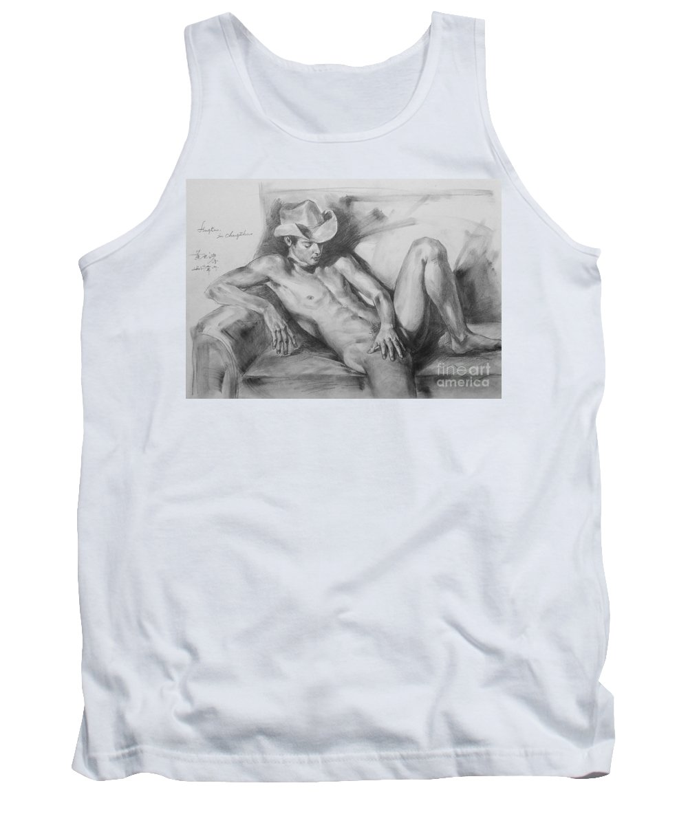Sofa Tank Top featuring the painting Original Drawing Sketch Charcoal Chalk Male Nude Gay Man On Sofa Art Pencil On Paper By Hongtao by Hongtao Huang