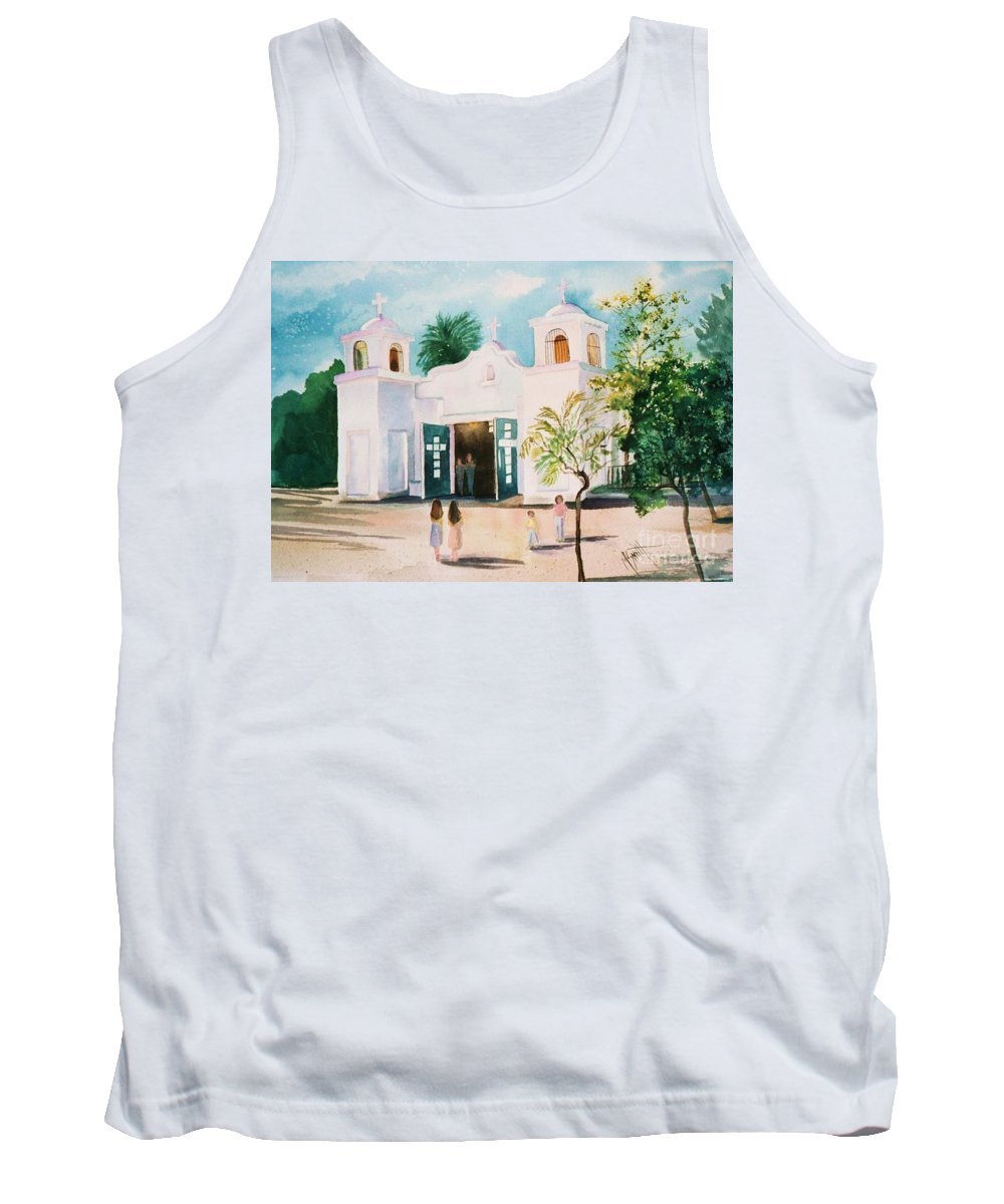 Mission Church Tank Top featuring the painting Our Lady Of Guadalupe by Marilyn Smith