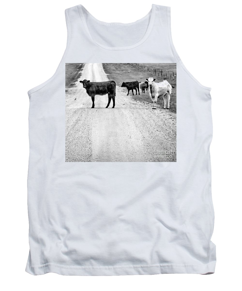 Black And White Photo Tank Top featuring the digital art Our Way Or The Highway Bw by Tim Richards