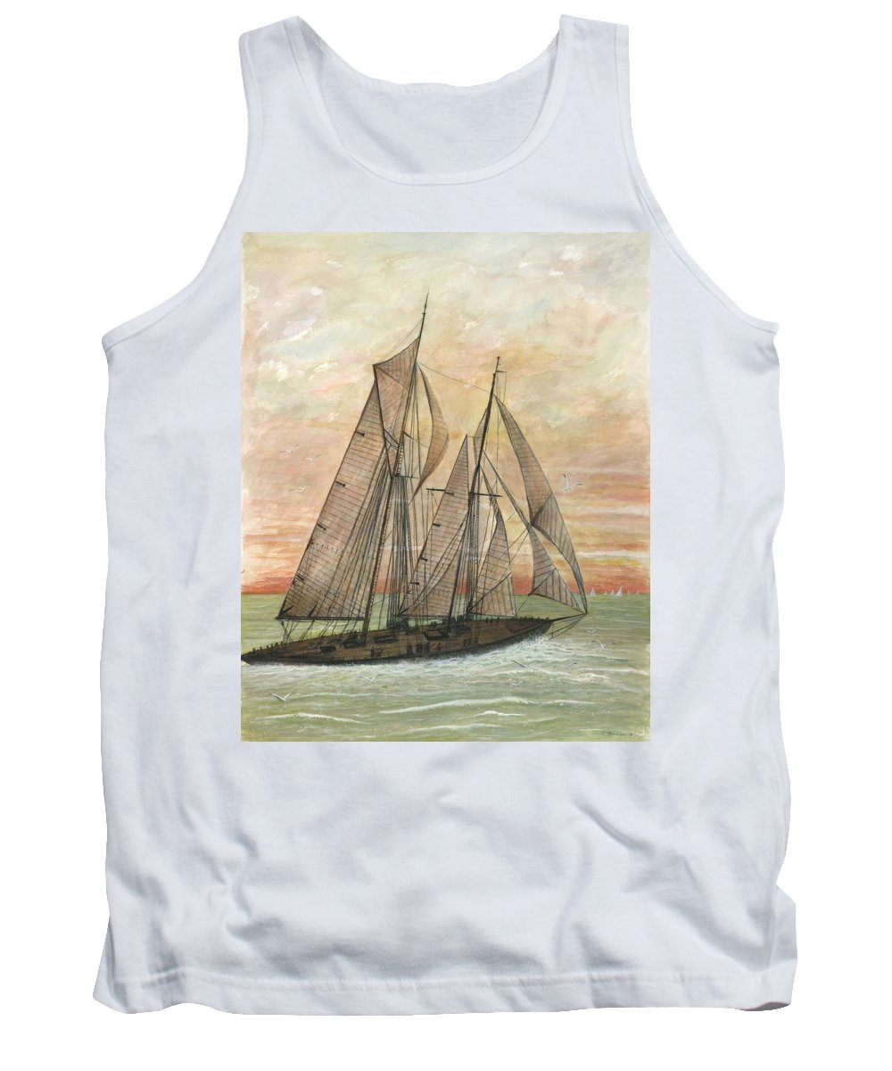 Sailboat; Ocean; Sunset Tank Top featuring the painting Out To Sea by Ben Kiger