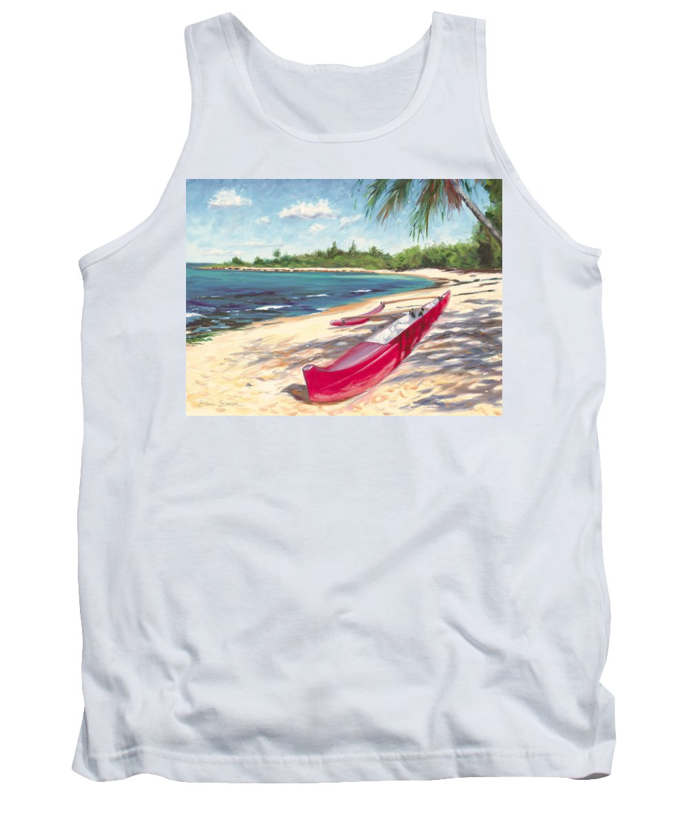 Outrigger Tank Top featuring the painting Outrigger - Haleiwa by Steve Simon