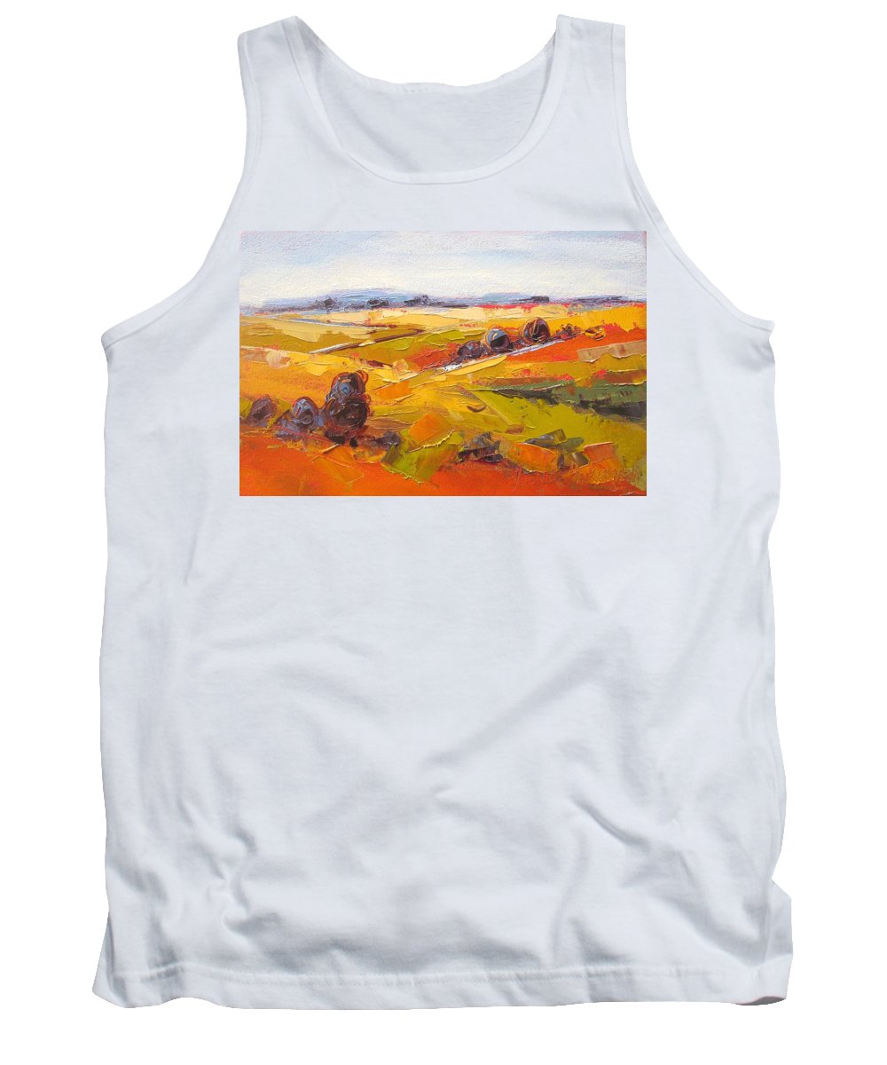 Fields Tank Top featuring the painting Overberg Autumn by Yvonne Ankerman