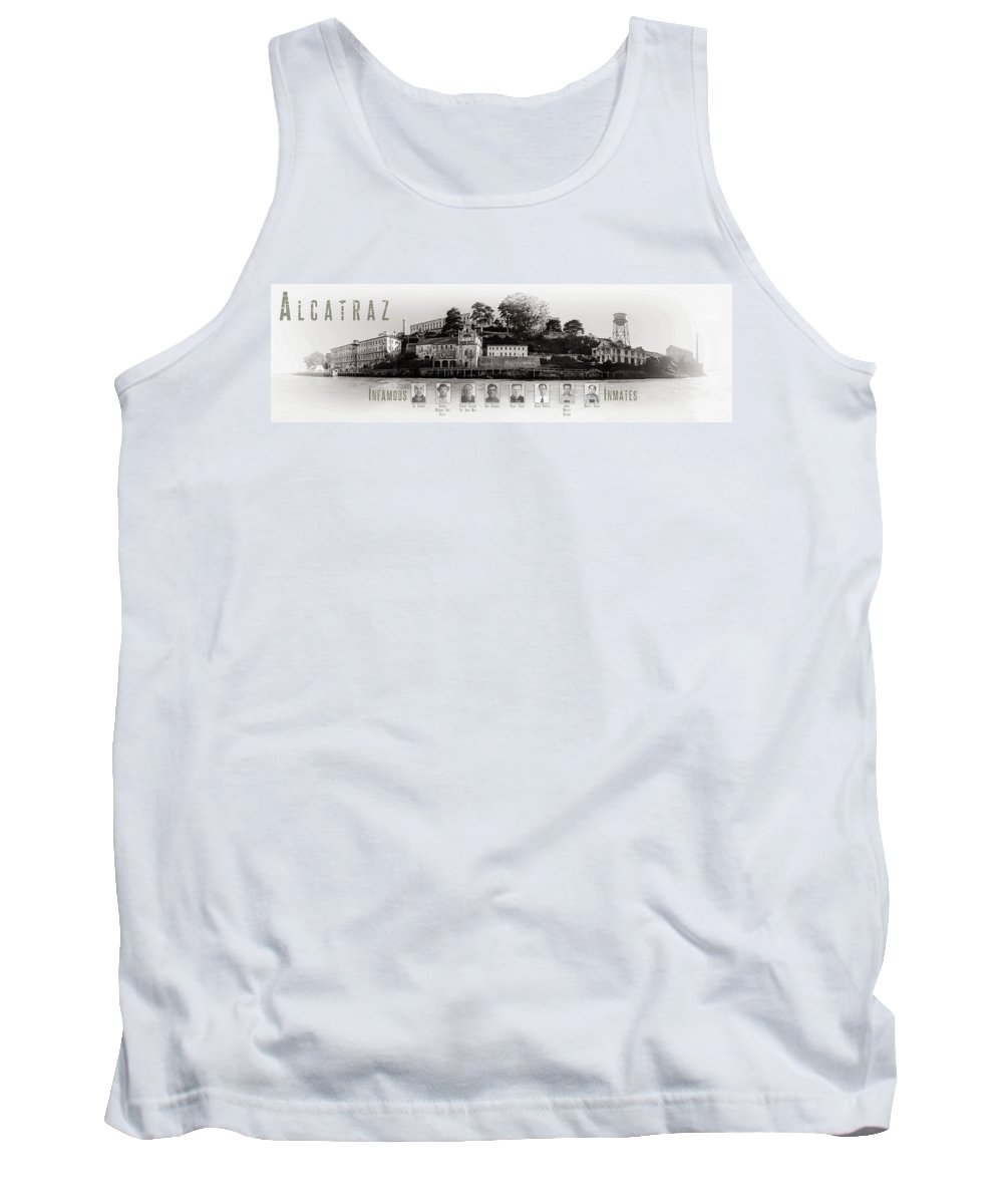 Alcatraz Tank Top featuring the photograph Panorama Alcatraz Infamous Inmates Black And White by Scott Campbell