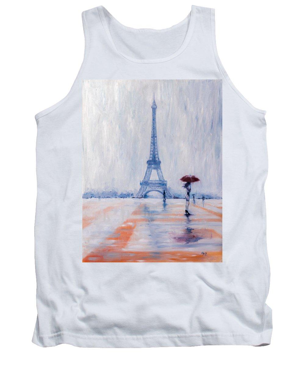 Girl Tank Top featuring the painting Paris In Rain by Kovacs Anna Brigitta