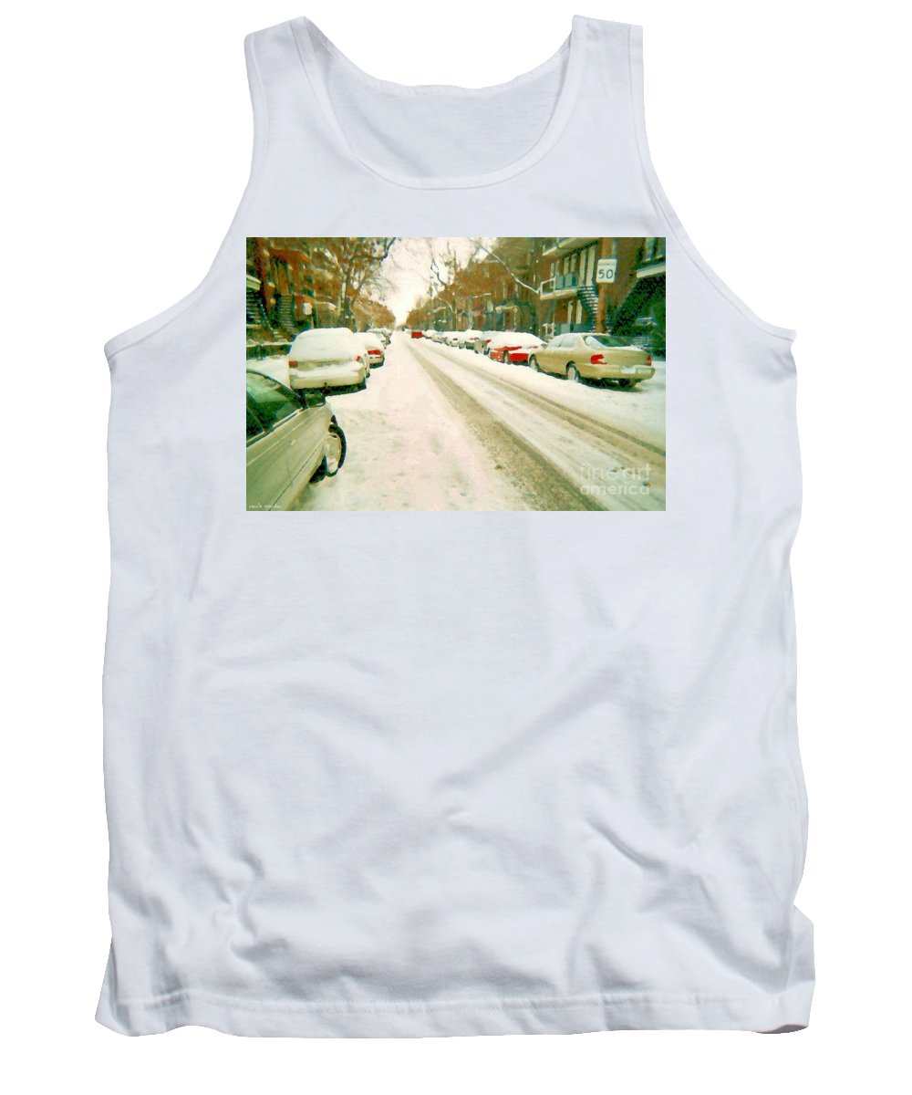 Montreal Tank Top featuring the painting Parked Cars Snowed In Cold December Day Verdun Painting Quebec Winter Scenes Carole Spandau Art by Carole Spandau