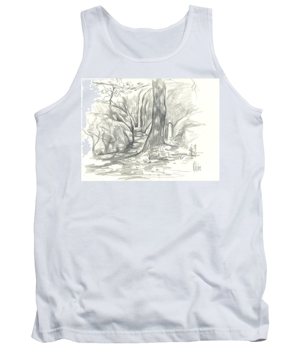 Passageway At Elephant Rocks Tank Top featuring the drawing Passageway At Elephant Rocks by Kip DeVore