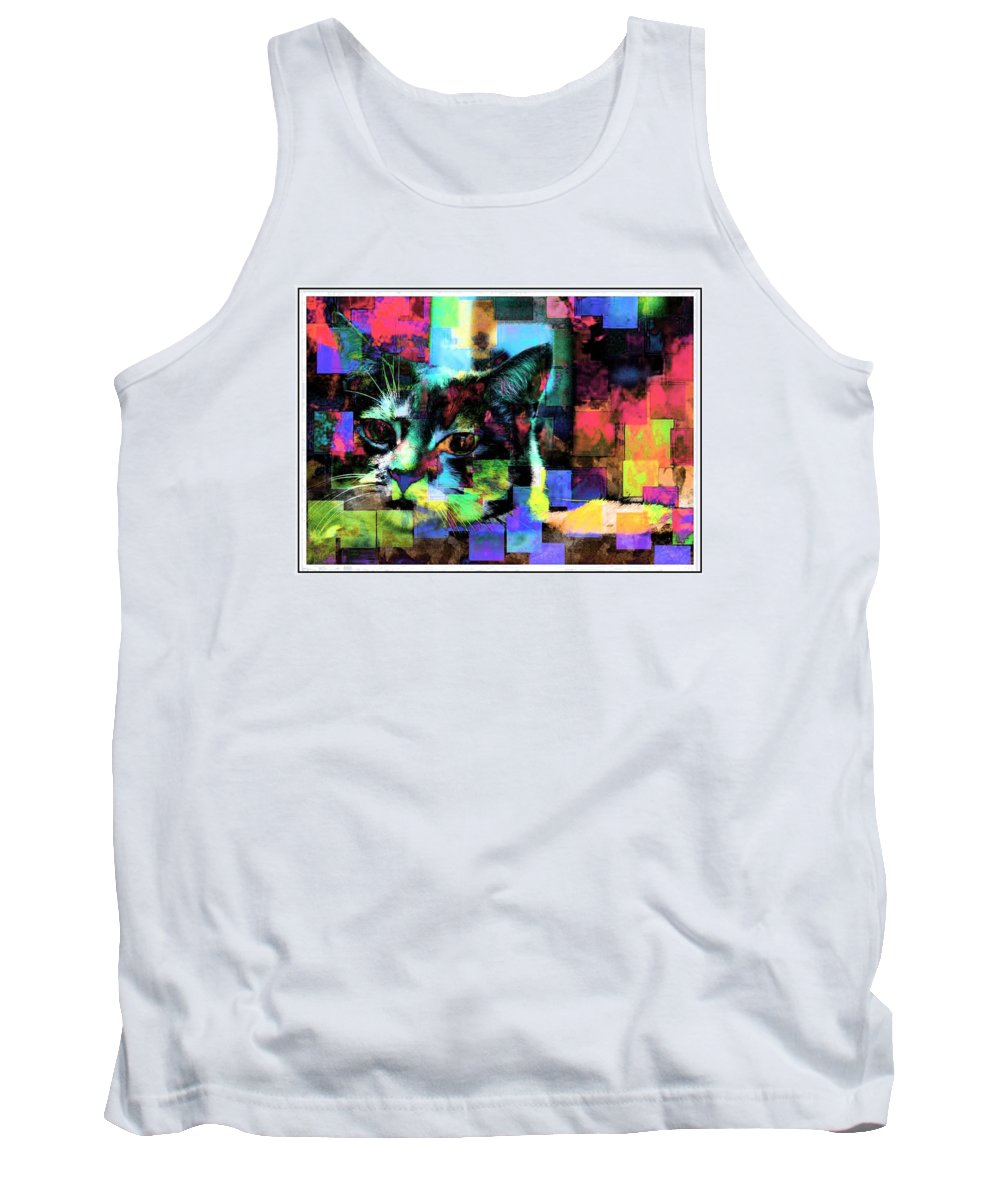 Cat Tank Top featuring the photograph Patchwork Kitty by Alice Gipson
