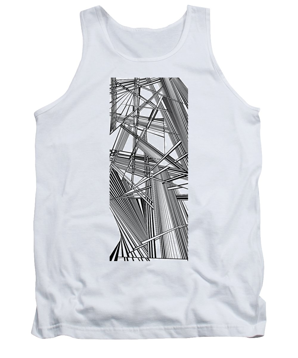 Dynamic Black And White Tank Top featuring the painting Patron by Douglas Christian Larsen