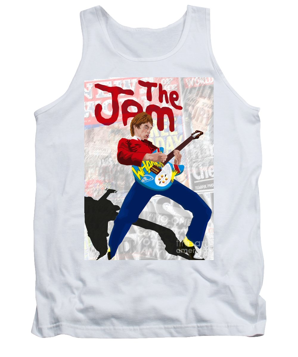 Jam Tank Top featuring the painting Paul Weller Wham by Neil Finnemore