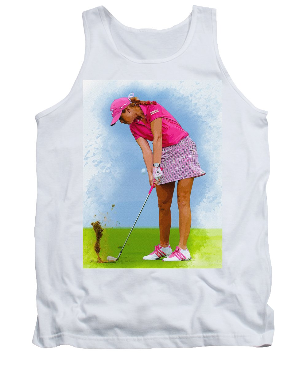 Canada Tank Top featuring the digital art Paula Creamer In Actionon The Evian Masters by Don Kuing