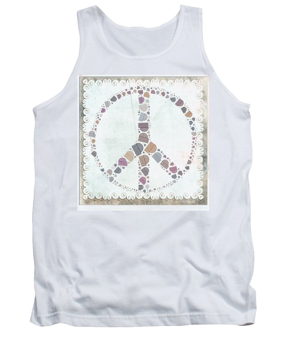 Black Tank Top featuring the digital art Peace Symbol Design - S76at02 by Variance Collections