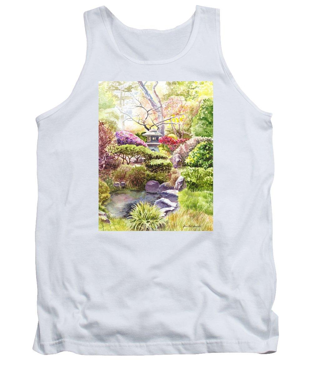 Affirmation Tank Top featuring the painting Peaceful Garden by Irina Sztukowski