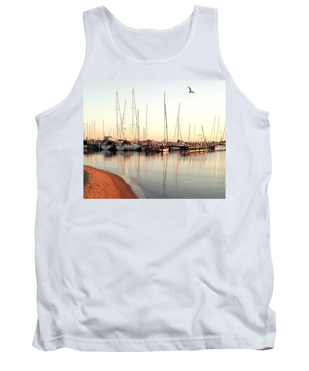 Marine Tank Top featuring the photograph Peaceful Morning by Tracy Ann Delfar